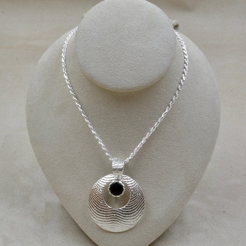 "Circle w/ Jet Pendant on 18"" Sterling Silver Chain by Althea Cajero"