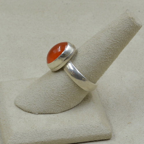 Bright Carnelian and Sterling Silver Adj. Ring by Joe Glover