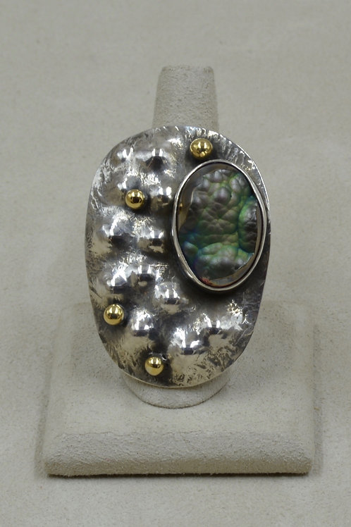 S. Silver Shield w/ Titanium Coated Agate Brass Shot 8x Ring by Melanie DeLuca