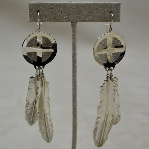 S. Silver Hand-forged Feathers w/ Medicine Wheel Top Wire Earrings by Tchin