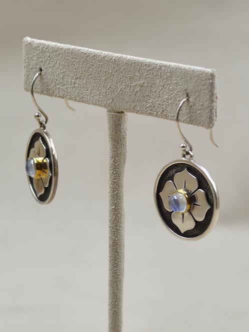 Sterling Silver Round 4 Petal Lotus, 18k Plate w/ Stone Earrings by Roulette 18