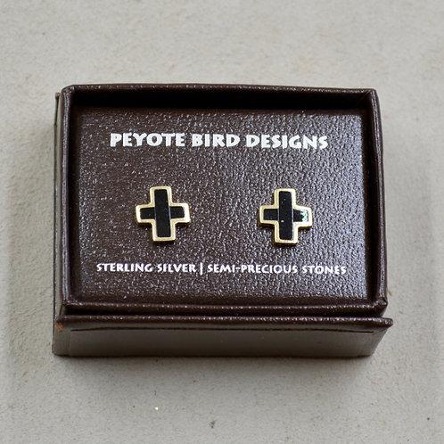 14k Cross w/ Onyx Post Earrings by Peyote Bird Designs