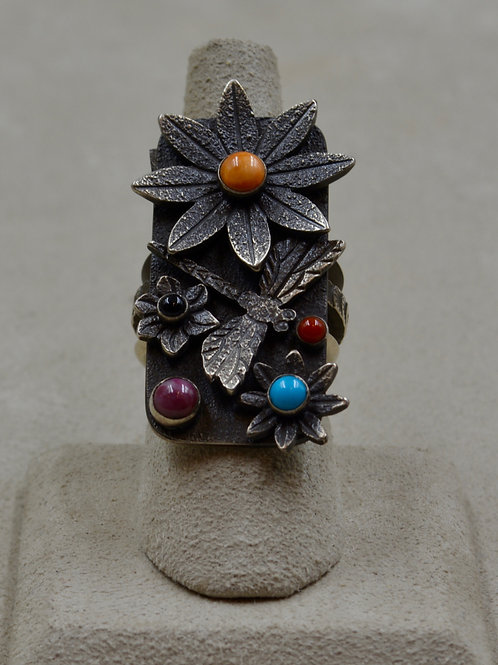 Oxidized Dragonfly & Flower Tufa Cast w/ Multi-Stones 7.5x by Aaron John