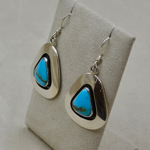 S. Silver Shadowbox w/ Natural Kingman Turquoise Wire Earrings by Cheryl Arviso
