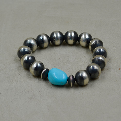 Sterling Silver 12mm & Turquoise Beaded Stretch Bracelet by Shoofly 505