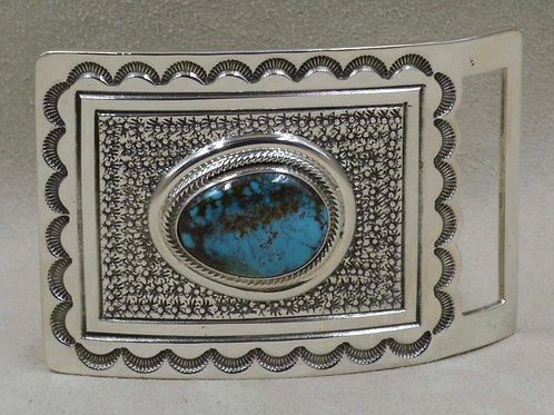 Sterling Silver Natural Fox Turquoise Buckle by Leonard Nez