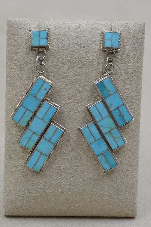 Vintage Turquoise & Sterling Silver Channel Inlay Drops Earrings