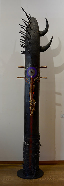 """Moon Pole w/ Horns"" 8' Mixed Media Sculpture by Doug Coffin"