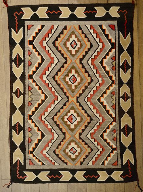 """Teec Nos Pos - Vintage Navajo Weaving - 58"""" x 43"""""""