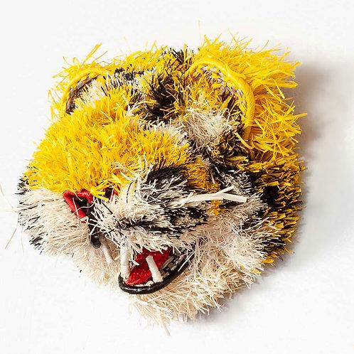 "Kitty Cat Emberá Mask by Roxana Barrington - 9""W x 9""H"