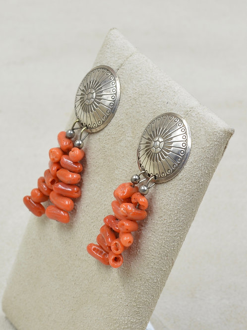 Vintage Stamped S. Silver Concho Earrings w/ Dangle Coral Nuggets