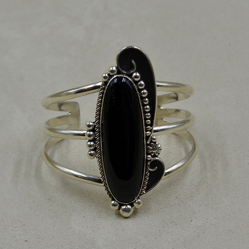 Black Onyx & Sterling Silver Oblong Cuff by Cheryl Arviso