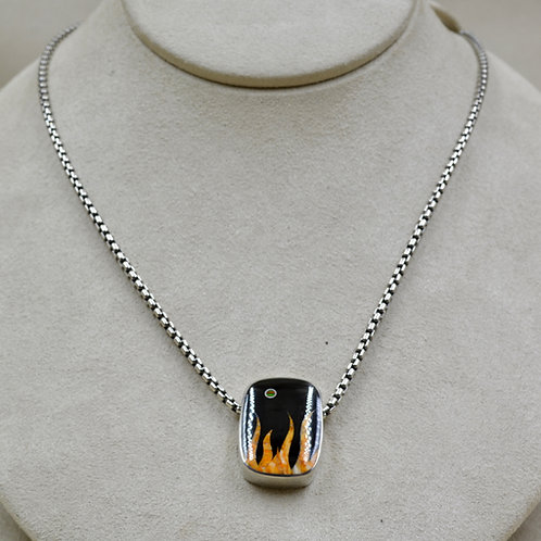 Flame Pendant w/ S. Silver w/ Black Jade, Spiny Oyster by GL Miller
