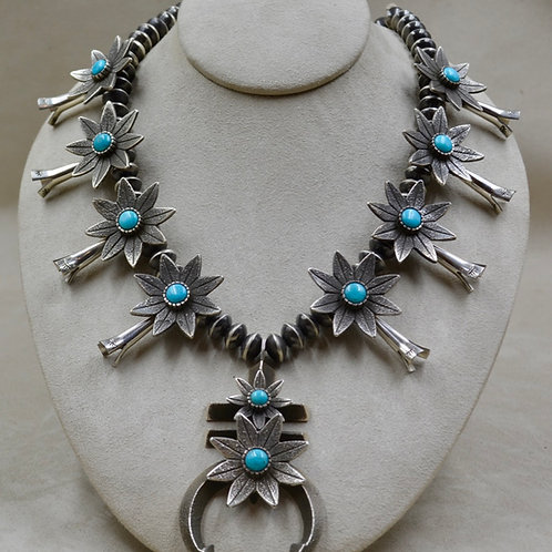Squash Blossom Necklace w/ Oxi. Flowers, & Nat. Kingman Turquoise by Aaron John