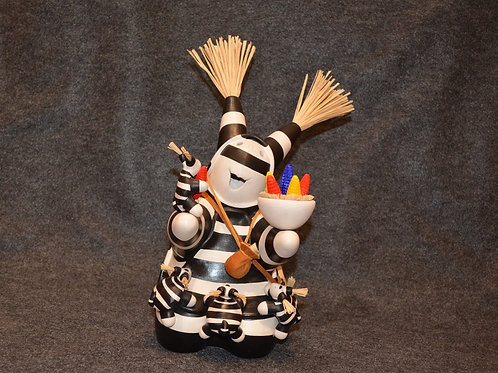 Koshare with Corn & Four Babies Sculpture by Randy Chitto