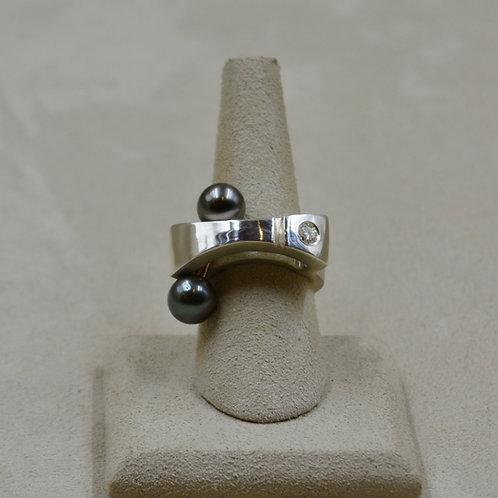 8mm Tahitian Pearls, 14k Gold Tube, 3.55mm Moissanite, 7x Ring  Reba Engel