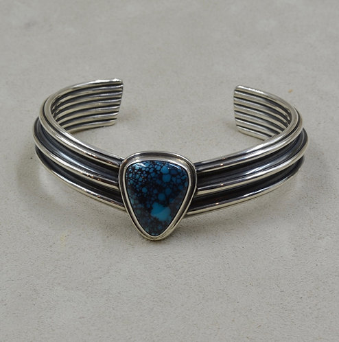 Sterling Silver and Natural Chinese Turquoise V Cuff by Steve Taylor