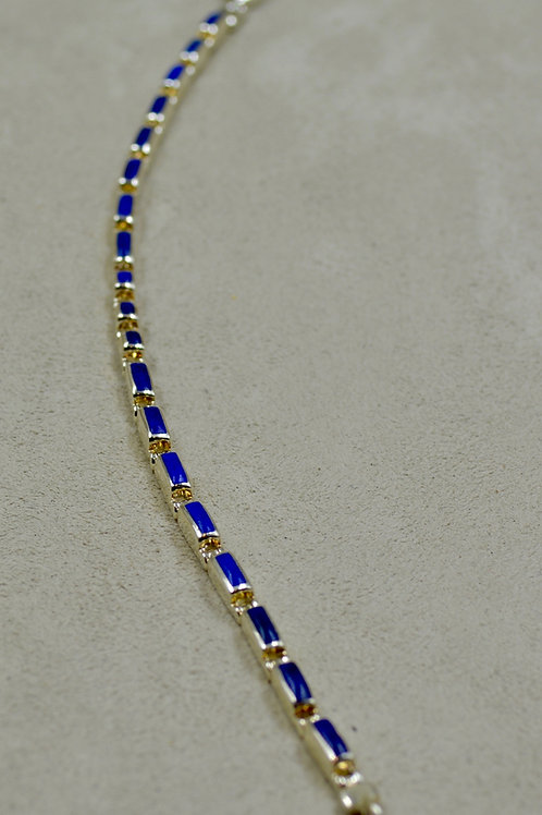 Lapis Skinny Inlay Tennis Bracelet by Peyote Bird