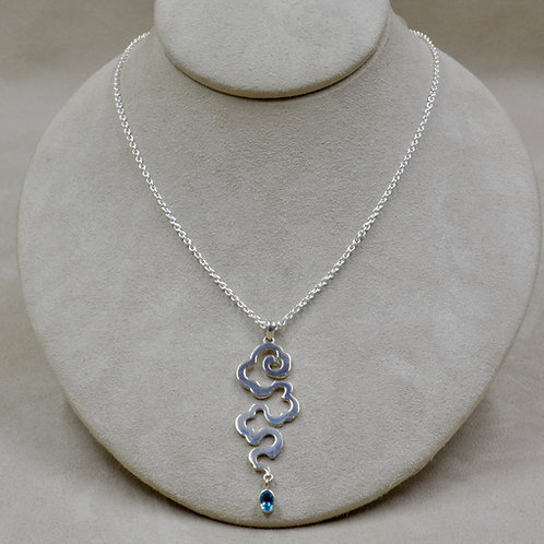 Blue Topaz & Sterling Silver Tibetan Cloud Pendant on Chain by Roulette 18