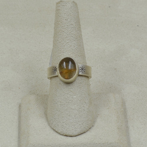 Oval Rutile Quartz and Sterling Silver 7.5x Ring by Joe Glover