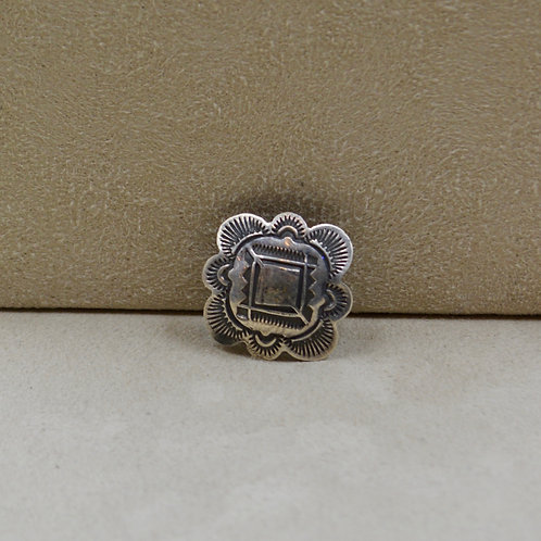 Oxidized Sterling Silver Square Stamped Pin by Red Rabbit Trading