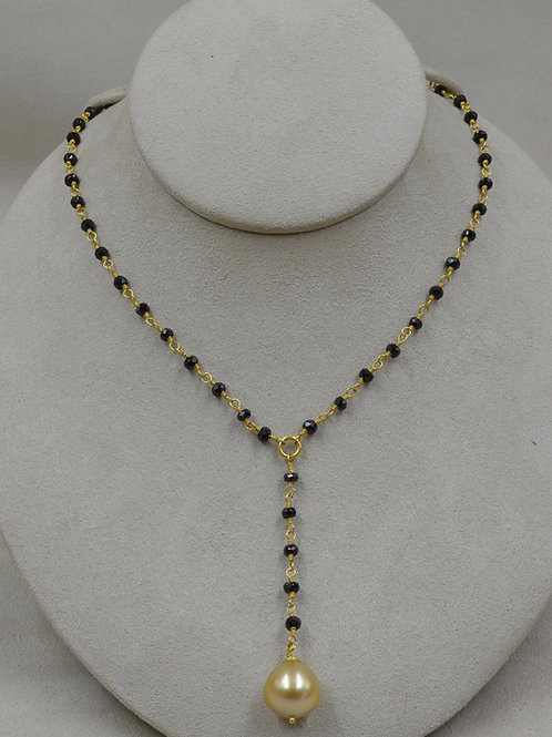 Black Spinel, 22k Gold, South Sea Cultured Pearl Necklace by Pamela Farland