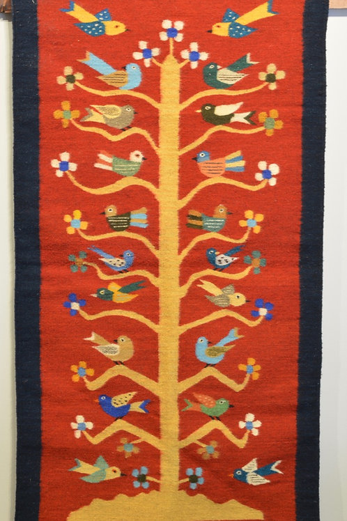 """Red Tree of Life Bordered Zapotec Weaving - 33"""" X 60"""""""