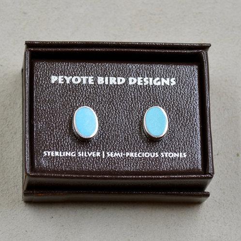 Sterling Silver & Turquoise Medium Oval Stud Earrings by Peyote Bird Design