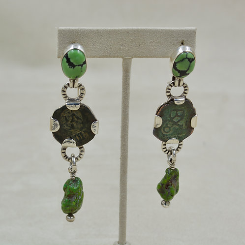 Spanish Coins, Turquoise Cabs, Sterling Silver Wire Earrings by Melanie DeLuca