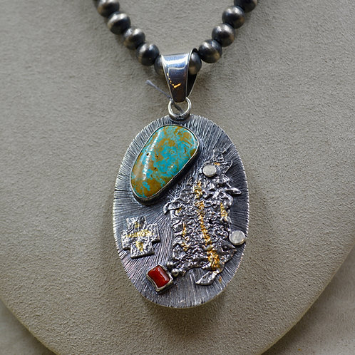 Keum Boo 18k Gold & Royston Turquoise Shadowbox Pendant by Cheryl Arviso