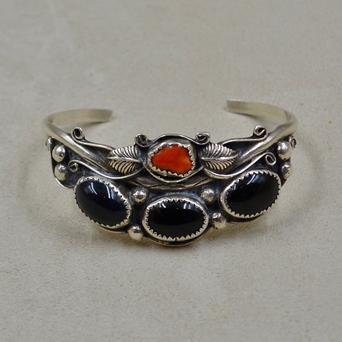 Vintage Sterling Silver, Onyx, Coral Cuff - 60's/70's