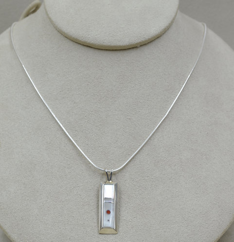 Mother of Pearl, White Clam MOP, Rectangular Pendant by Veronica Benally