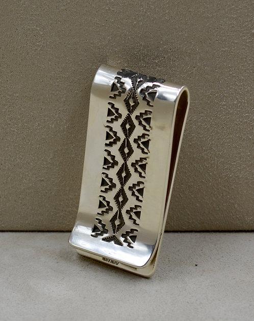Sterling Silver Stamped Rug Pattern Design Money Clip by Leonard Nez