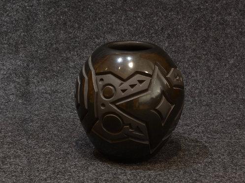 Black Carved Venus Migration Pot by Harrison Begay, Navajo