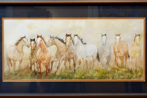 "'9 Horses' - Framed Watercolor - 20"" x 36"" - by John Saunders"