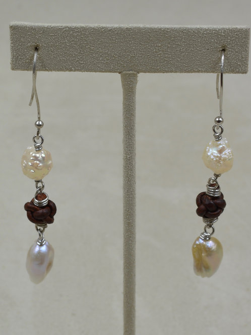 Cultured Freshwater Pearl Rosebud Wires on Leather by US Pearl Co.