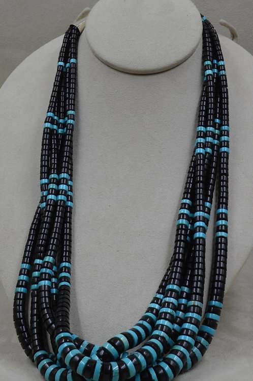 5 Strand Acoma Jet, Kingman Turquoise w/ Olive Shell Heishi by Kenneth Aguilar