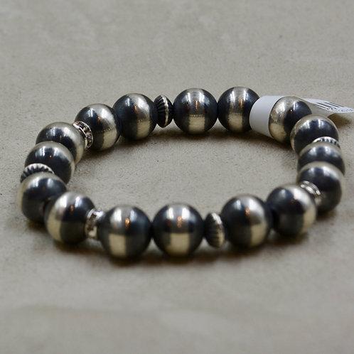 Oxidized Stretch 10mm S. Silver Bracelet w/ Czech Crystal by Shoofly 505
