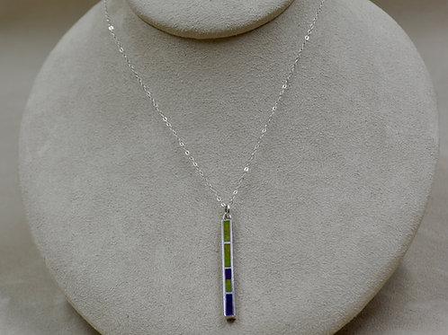Sugilite, Serpentine, & S. Silver Medium Dancing Stick on Chain by Lente