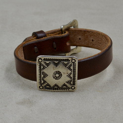Ingot Squat Concho Stamped on Leather by Buffalo