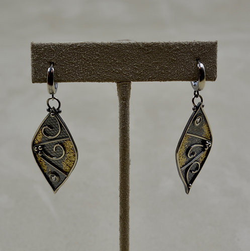 22k Gold & Argentinian Silver Diamond Shaped Earrings by Michele McMillan