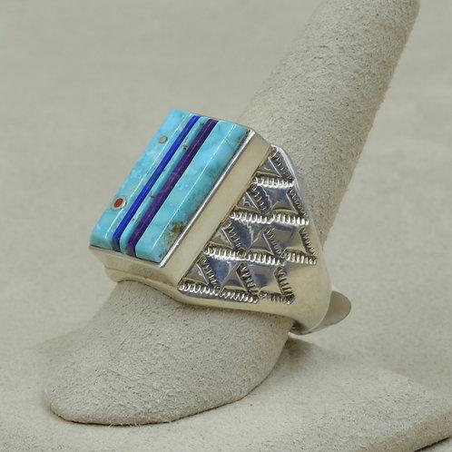 Cobble Turquoise, Sugilite, Lapis Rectangular 10x Ring by Veronica Benally