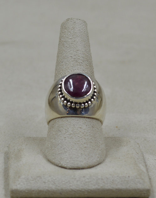 Sterling Silver High Dome Ruby 8x Ring by Roulette 18