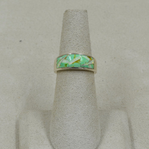 Green Turquoise, Lab Opal, & Sterling Silver 5x Ring by GL Miller Studio