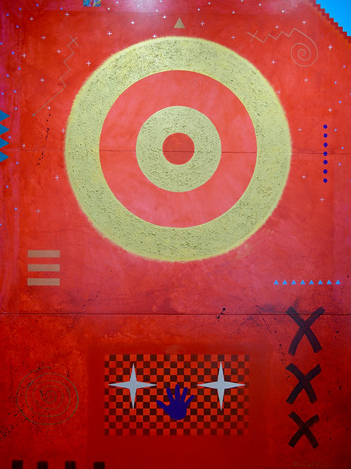 """""""Red Vision"""" Ac/Mixed on Panel - 108"""" x 80"""" - by Doug Coffin"""