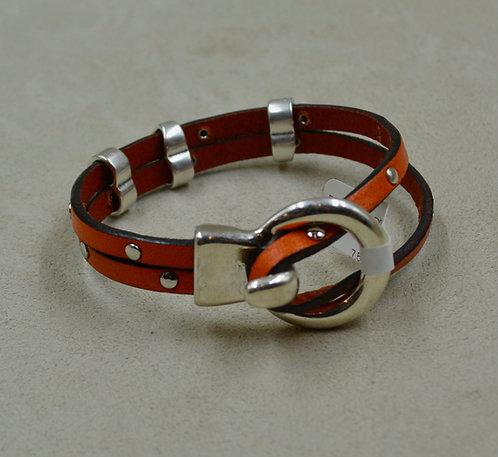 Studded Olive, 3 Sliders, Plated Loop Bracelet by Sippecan Designs