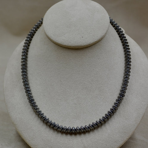 """Sterling Silver Handmade Beads 19"""" Necklace by Bettilyn Nez"""