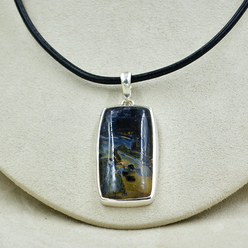 Large Rectangle Pietersite & Sterling Silver Pendant by Sanchi & Filia