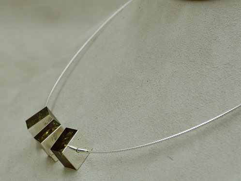 """Green Amber & Sterling Silver 3 Small 1/2"""" Squares Necklace by MTM Silver"""