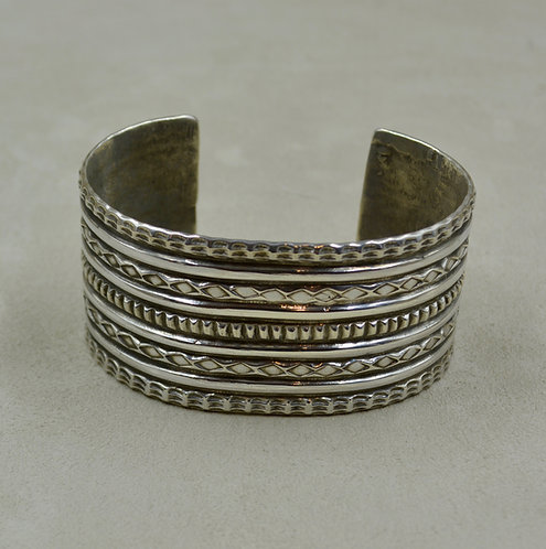 Sterling Silver Ingot Stamped & Tufa Cuff by Jerry Faires